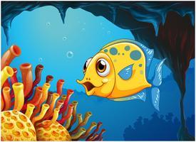Un gros poisson jaune sous la mer à l'intérieur de la grotte marine