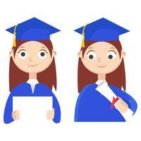 Ensemble. Un étudiant diplômé avec un diplôme. Illustration de plat Vector