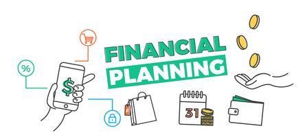 Bannière de planification financière. App pour votre budget, vos opérations bancaires, vos dettes. Illustration d'art de ligne vectorielle