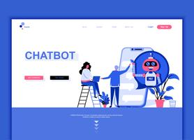 Concept de modèle de conception de page web plat moderne de Chat Bot vecteur