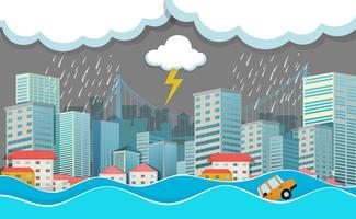 Une ville urbaine sous les inondations vecteur