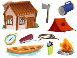 divers objets de camping vecteur