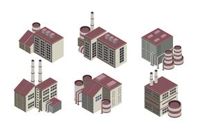 Énorme collection de bâtiments industriels isométriques vecteur