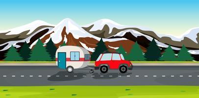 Une voiture et des caravanes vecteur