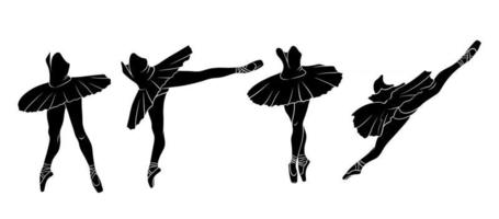 ensemble de ballet. ballerine en pointes et tutu. les jambes du danseur. silhouette. vecteur