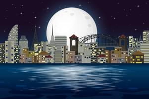 Scène de nuit de la ville moderne vecteur