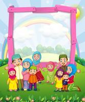 Design de frontière avec la famille musulmane