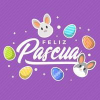 Plat moderne violet Feliz Pascua lettrage fond de vecteur de typographie