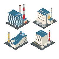 Bâtiment logistique isométrique moderne d'usine industrielle et d'entrepôt vecteur