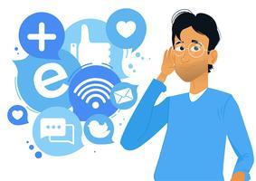 Bannière Écoute sociale. L'homme s'appuya à l'oreille et écouta les icônes. Illustration de dessin animé plane vectorielle