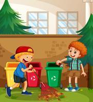 Les garçons aident à nettoyer la cour