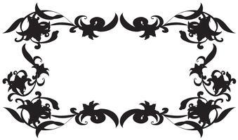 Modèle de cadre avec des fleurs de silhouette vecteur