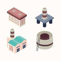 ensemble de bâtiments industriels isométriques vecteur