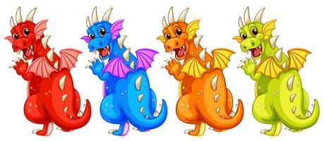 Ensemble de dragon de couleur différente vecteur