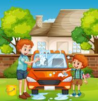 Gens heureux laver la voiture vecteur