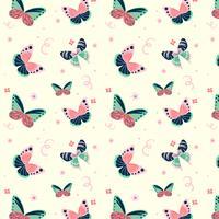 Motif papillon mignon avec des éléments floraux vecteur