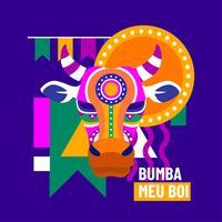 Bumba Meu Boi Bulls tête de front vecteur
