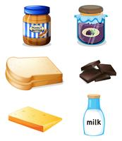 Différents aliments avec des vitamines et des minéraux vecteur