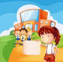 Une fille tenant un papier vide vecteur