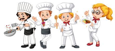 Ensemble de personnage de cuisinier différent vecteur