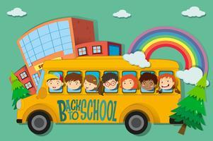 Enfants montés dans un bus scolaire vecteur