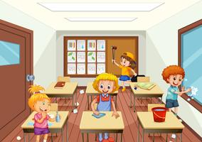 Groupe de personnes nettoyant une salle de classe vecteur