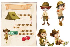 Modèle de jeu avec des enfants en tenue de safari vecteur