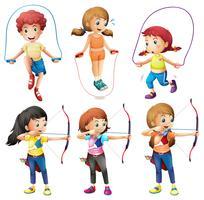 Enfants avec différents loisirs vecteur