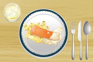 Saumon et Pâtes vecteur