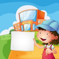 Une fille tenant un papier vierge vecteur