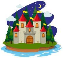 Château sur l'île la nuit