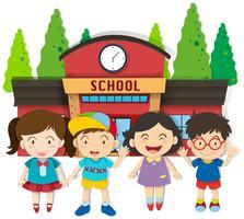 Garçons et filles à l'école vecteur