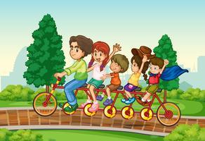 Famille à vélo dans le parc vecteur