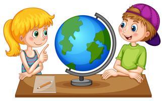 Enfants, regarder, globe, table vecteur