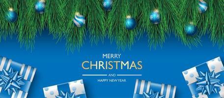 conception de fond de bannière de Noël, boîte de cadeaux sur fond bleu, fond de couverture de Noël, carte de voeux, illustration vectorielle vecteur