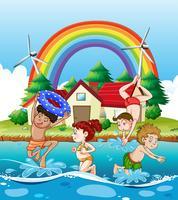 Enfants nageant dans la mer