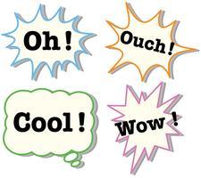 Des expressions dans quatre bulles différentes vecteur