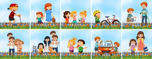 Ensemble de personnes au jardin vecteur