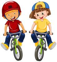 Urban Boys Riding Bicycle sur fond blanc vecteur