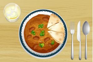 Nourriture indienne avec du pain vecteur