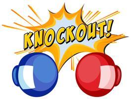 KO Expression avec deux gants de boxe vecteur