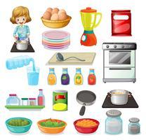 Nourriture et ustensiles de cuisine vecteur