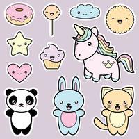 Collection de jeu d'étiquettes de style kawaii mignons vecteur