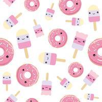 Modèle sans couture. Crème glacée mignonne de style kawaii et beignes glacés roses.