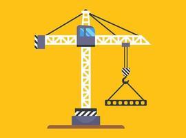 une grue de construction jaune soulève une charge sur un crochet. illustration vectorielle plane. vecteur