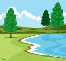 paysage de lac en plein air vecteur