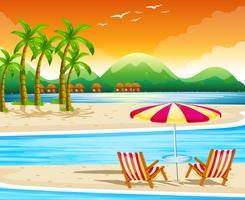 Scène de plage avec chaises et parasol