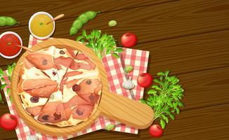Vue aérienne de la pizza italienne vecteur