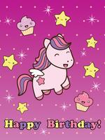 Carte de joyeux anniversaire avec joli cheval souriant de dessin animé. vecteur