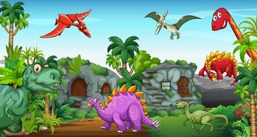 Dinosaures dans le parc vecteur